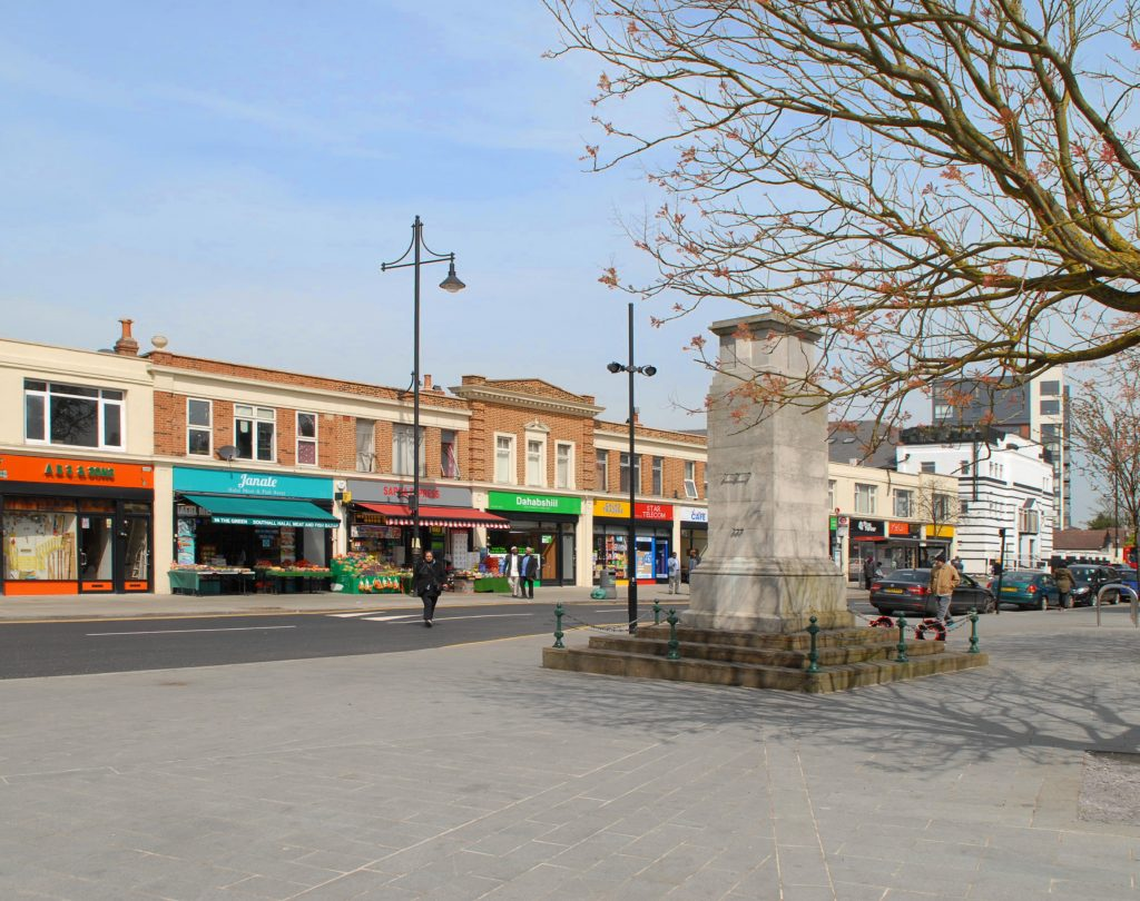 Manor House Square by DK-CM, part of Southall Great Streets scheme, 2014